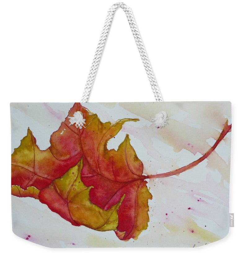 Fall Weekender Tote Bag featuring the painting Descending by Ruth Kamenev