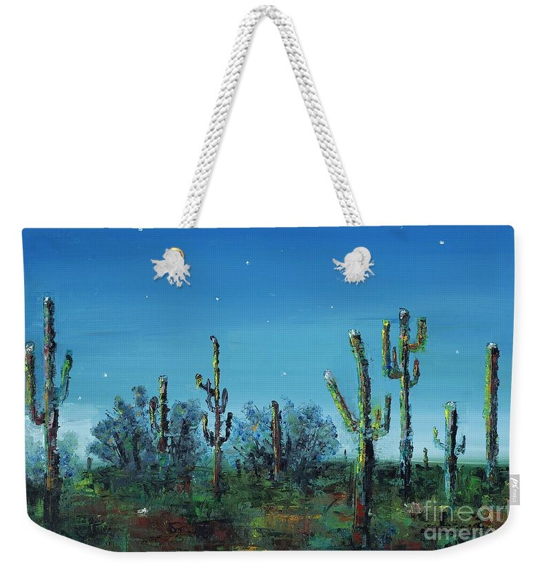 Desert Saguaro Catus In Bloom Weekender Tote Bag featuring the painting Desert Blue by Frances Marino