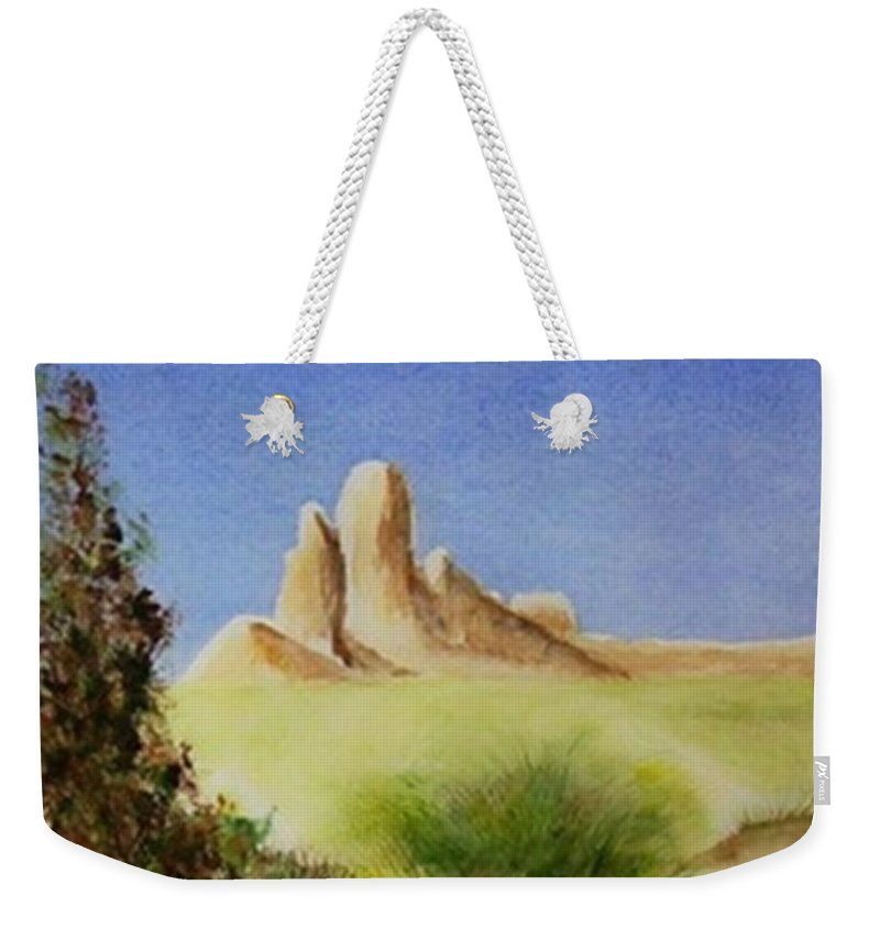 Butte Weekender Tote Bag featuring the painting Desert Butte by Jamie Frier