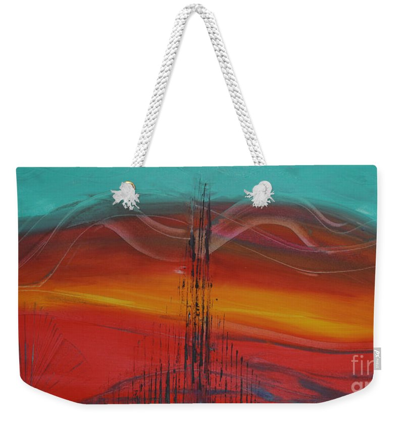 Abstract Weekender Tote Bag featuring the painting Desert Cathedral by Karla Britfeld
