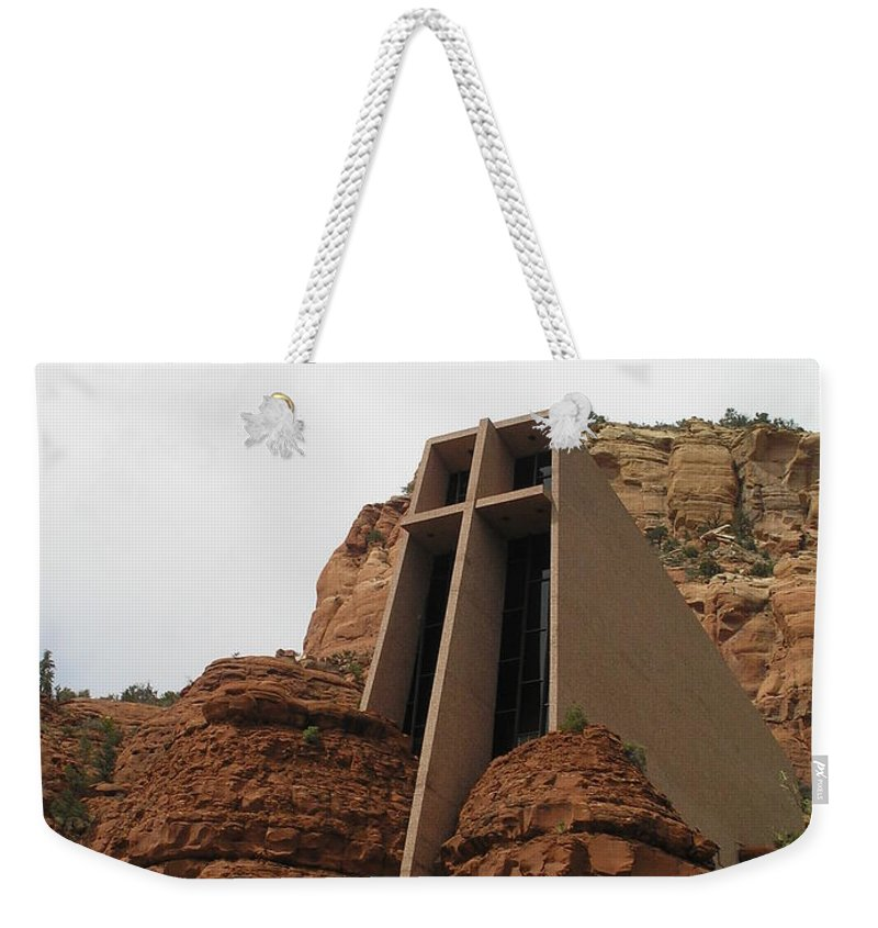 Landscape Weekender Tote Bag featuring the photograph Desert Church by Sandra Bourret