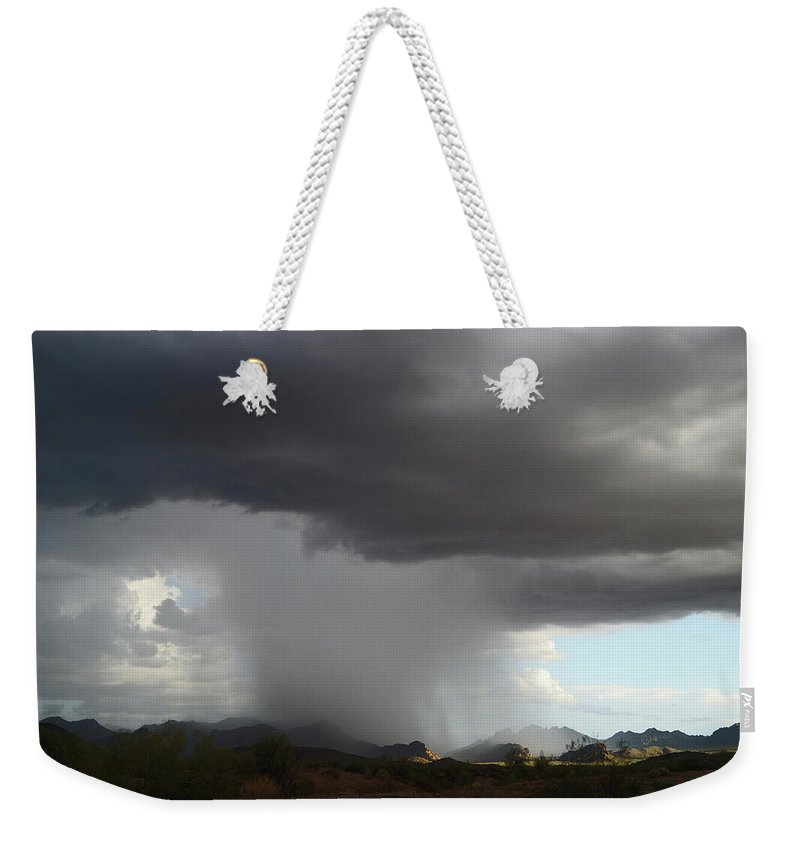 Storm Weekender Tote Bag featuring the photograph Desert Downpour by Broderick Delaney
