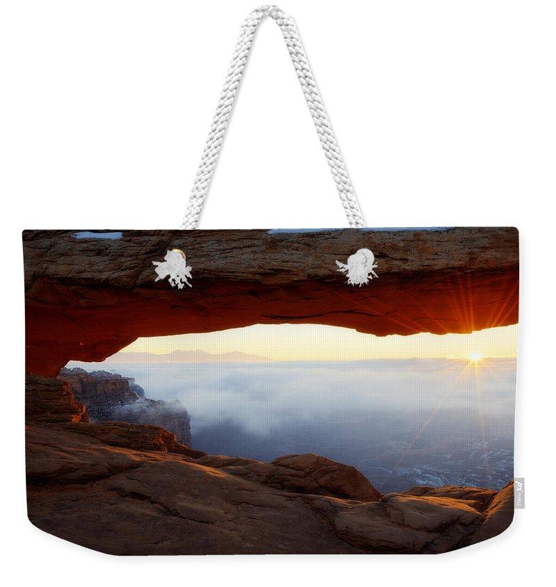 Desert Fog Weekender Tote Bag featuring the photograph Desert Fog by Chad Dutson