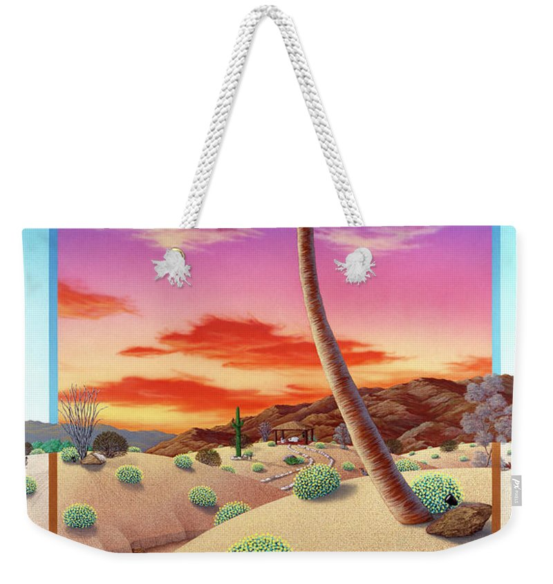 Landscape Weekender Tote Bag featuring the painting Desert Gazebo by Snake Jagger