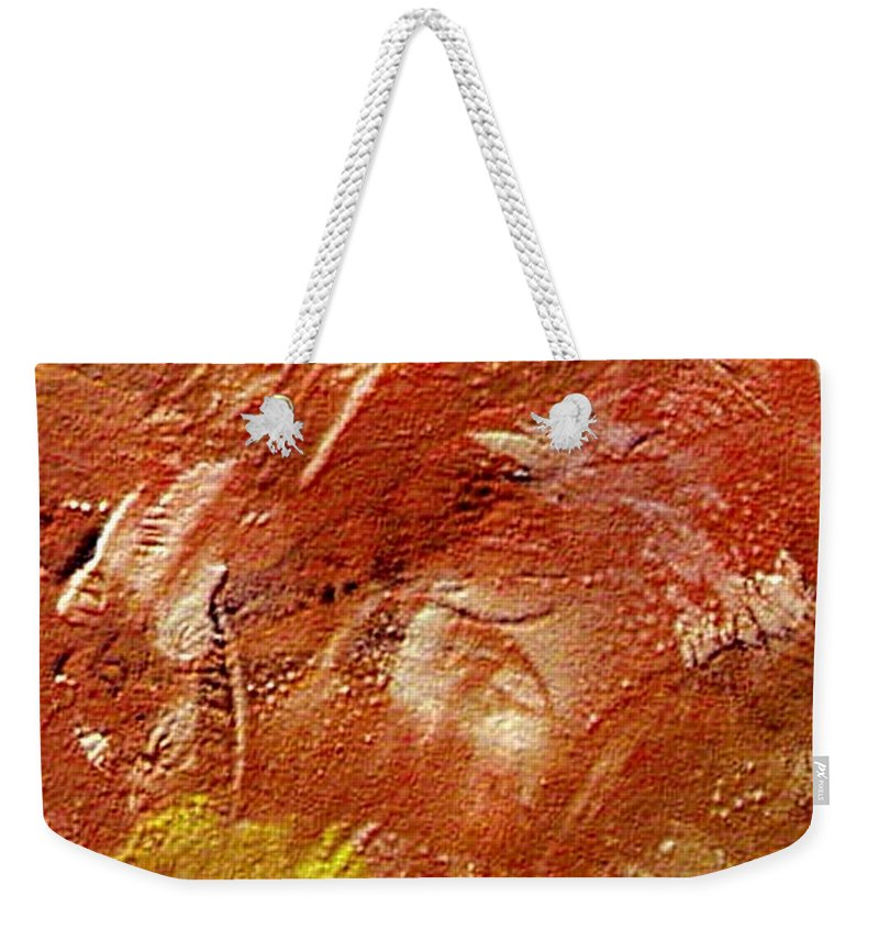 Desert Land Weekender Tote Bag featuring the painting Desert Land by Dragica Micki Fortuna