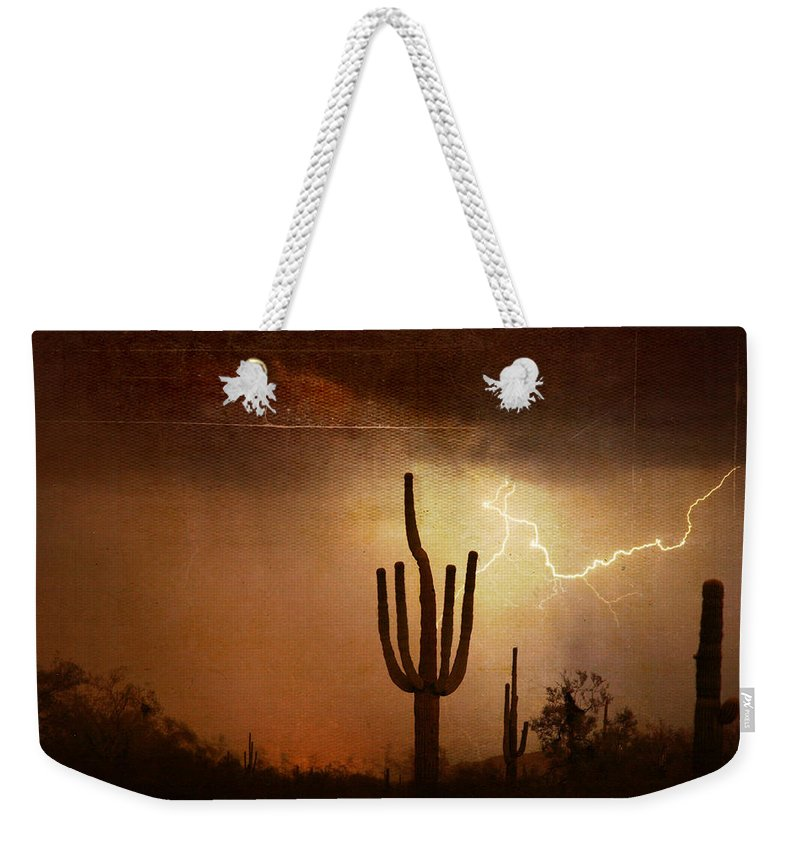 Southwest Weekender Tote Bag featuring the photograph Desert Landscape Southwest by James BO Insogna