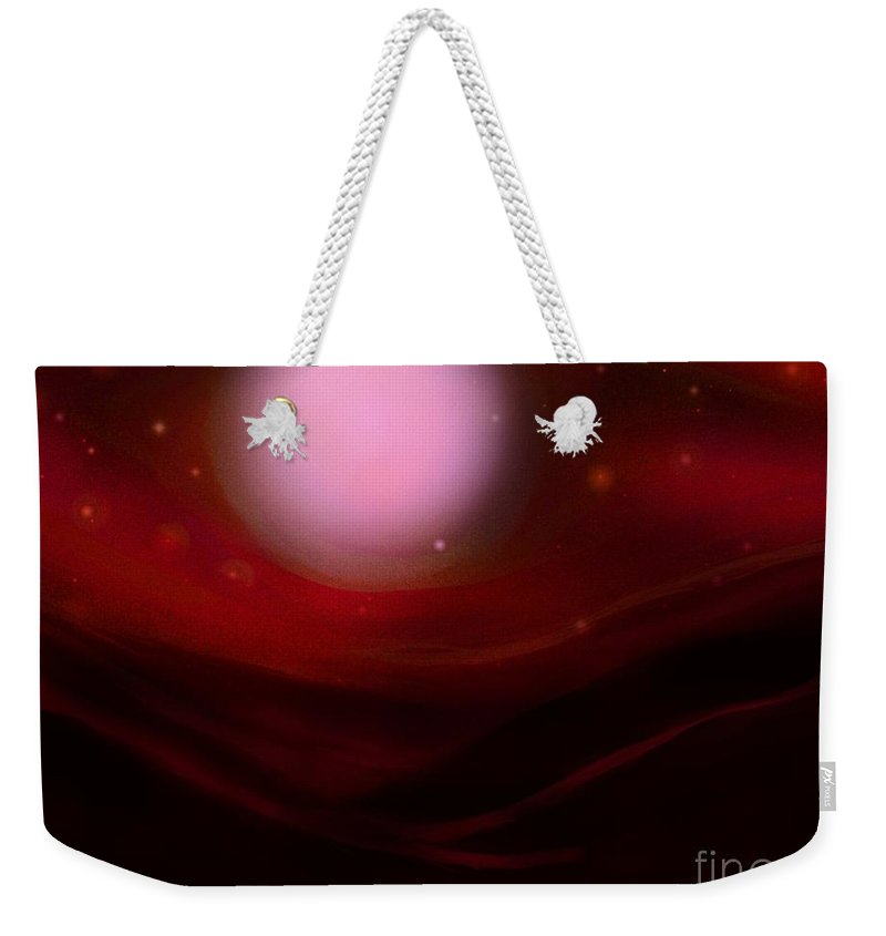 Orange Weekender Tote Bag featuring the painting Desert Moon by Roxy Riou