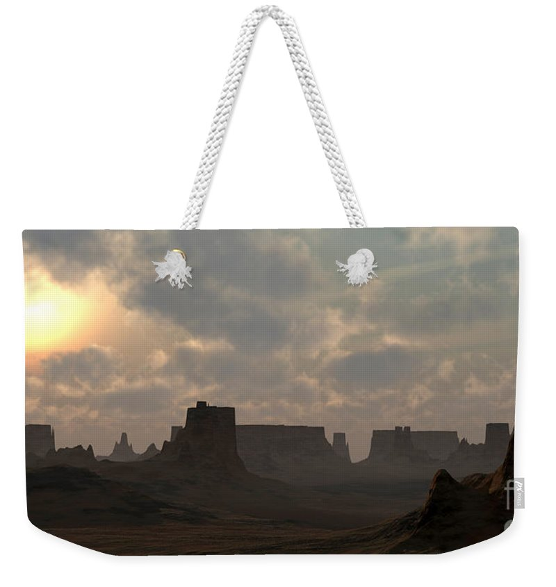 Desert Weekender Tote Bag featuring the digital art Desert Morning by Richard Rizzo