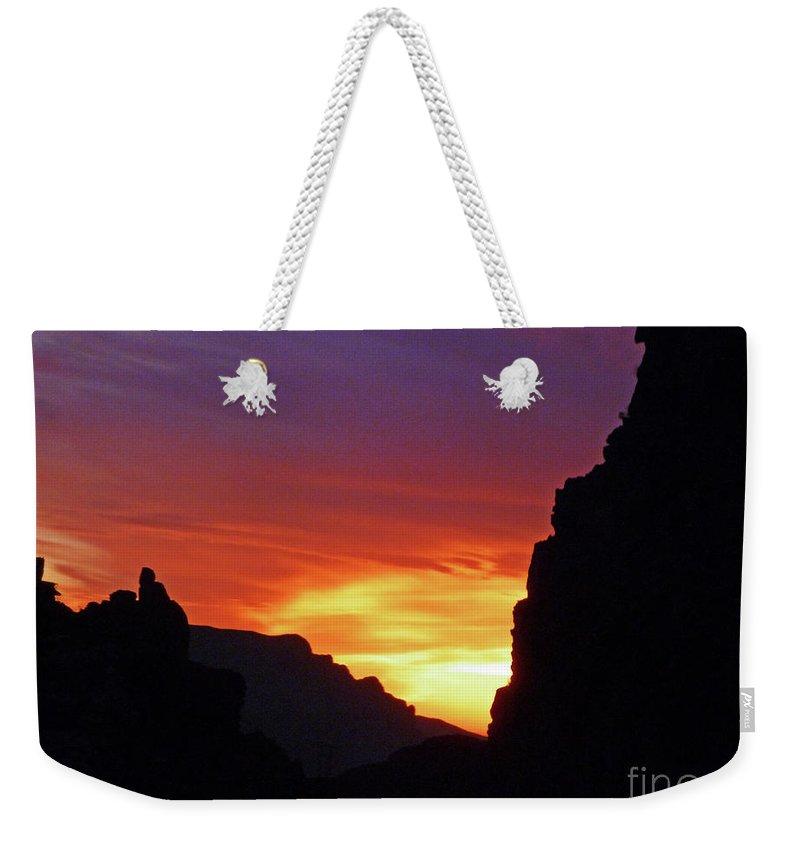 Desert Mountain Sunset Weekender Tote Bag featuring the photograph Desert Mountain Sunset by Methune Hively