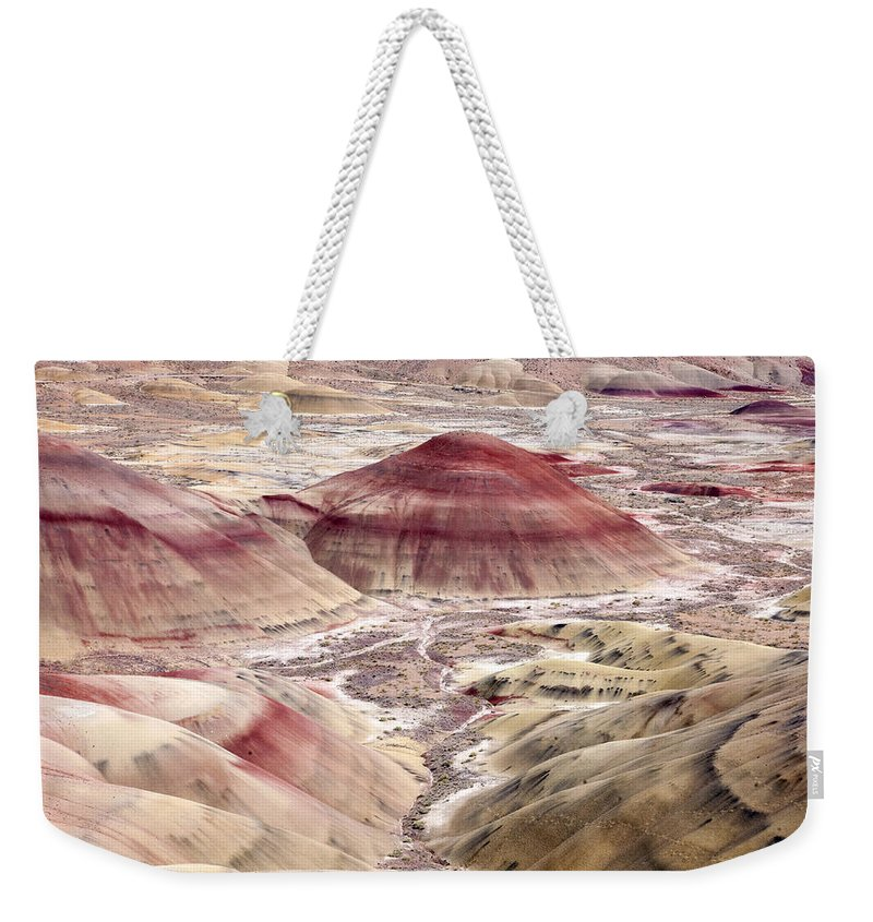 Painted Hills Weekender Tote Bag featuring the photograph Desert Palette by Mike Dawson
