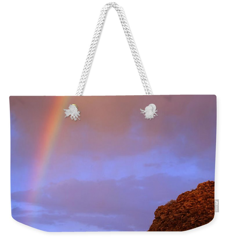 Rainbow Weekender Tote Bag featuring the photograph Desert Rainbow by Jill Reger