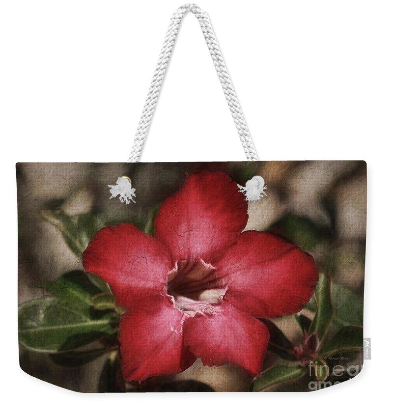 Flower Weekender Tote Bag featuring the painting Desert Rose In Daytona by Deborah Benoit