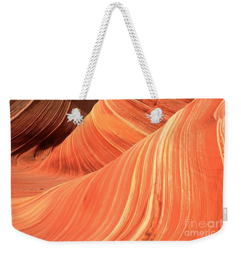 Sandstone Waves Weekender Tote Bag featuring the photograph Desert Sandstone Waves by Adam Jewell