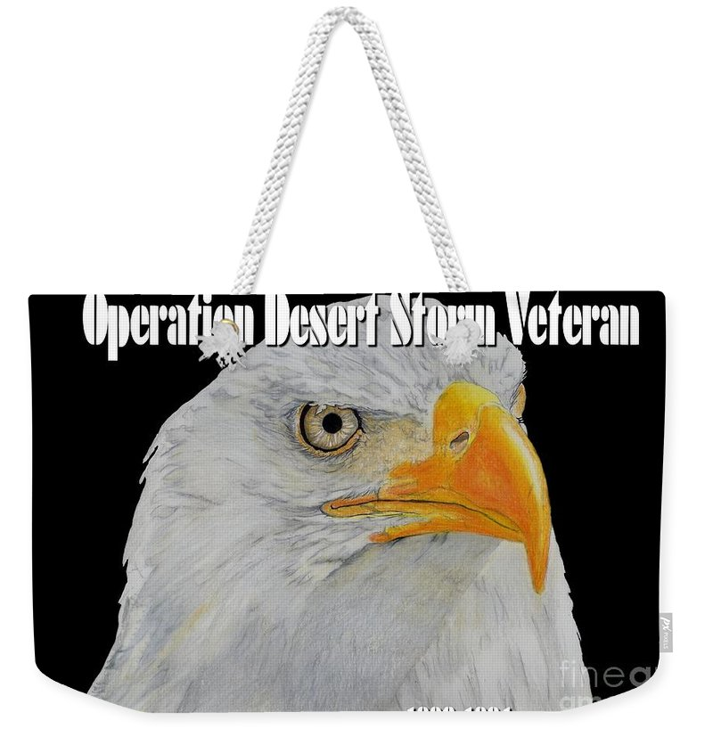Desert Weekender Tote Bag featuring the drawing Desert Storm Eagle by Bill Richards