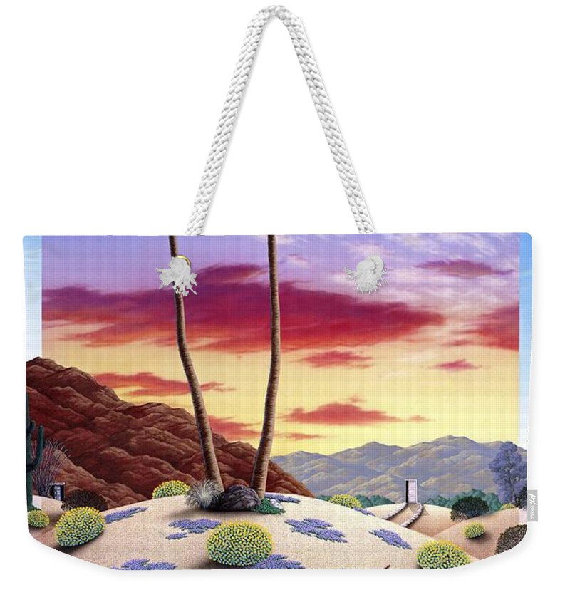 Desert Weekender Tote Bag featuring the painting Desert Sunrise by Snake Jagger