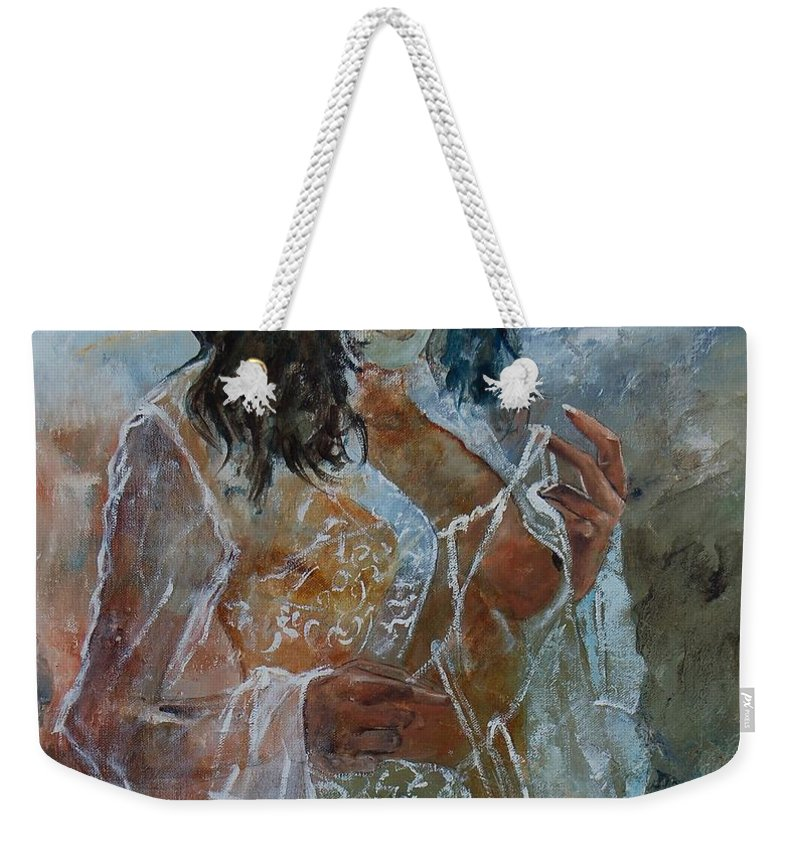 Nude Weekender Tote Bag featuring the painting Deshabille 67 by Pol Ledent