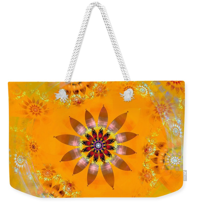 Fractal Weekender Tote Bag featuring the digital art Designs On Gold by Richard Ortolano