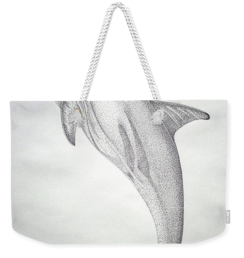Dolphin Paintings Weekender Tote Bag featuring the drawing Desintigrating Porpoise by Mayhem Mediums
