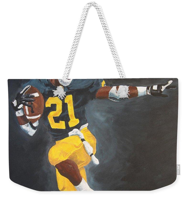 Desmond Howard Weekender Tote Bag featuring the painting Desmond Heisman by Travis Day