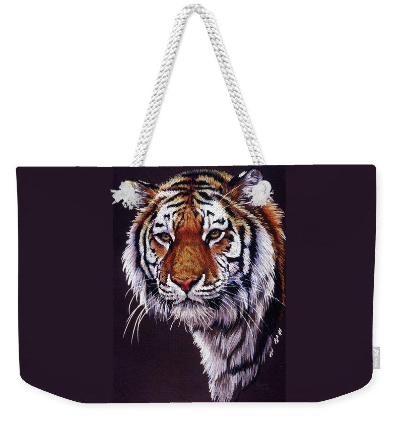Tiger Weekender Tote Bag featuring the drawing Desperado by Barbara Keith