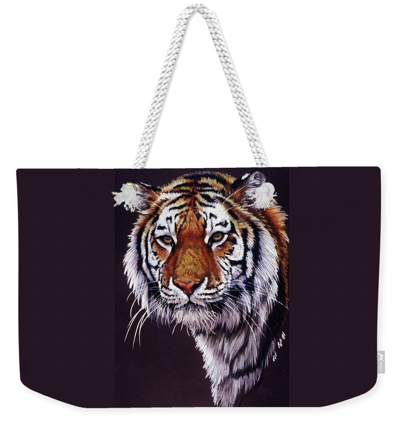 Tiger Weekender Tote Bag featuring the drawing Desperado by Barbara Keith
