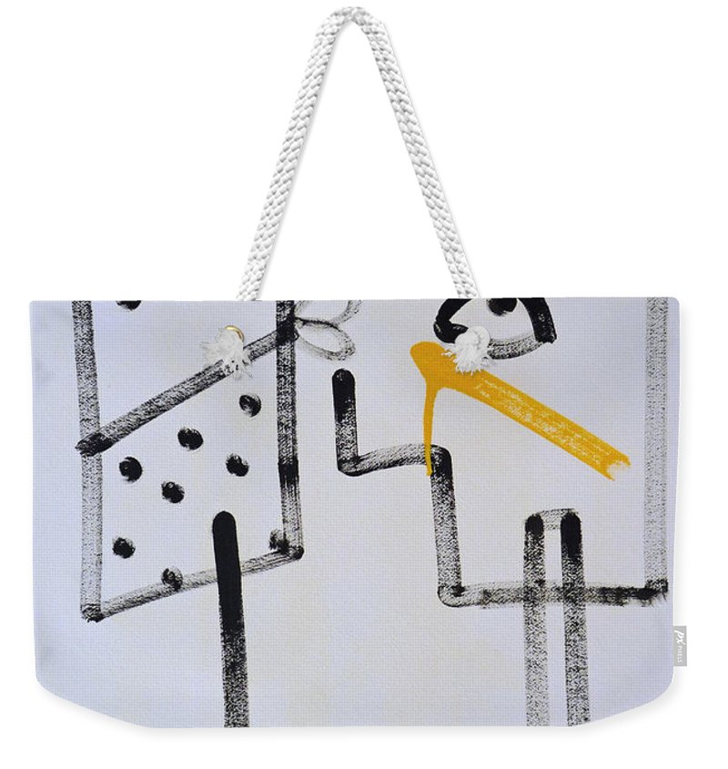Drawing Weekender Tote Bag featuring the painting Desperados Waiting For A Train by Charles Stuart