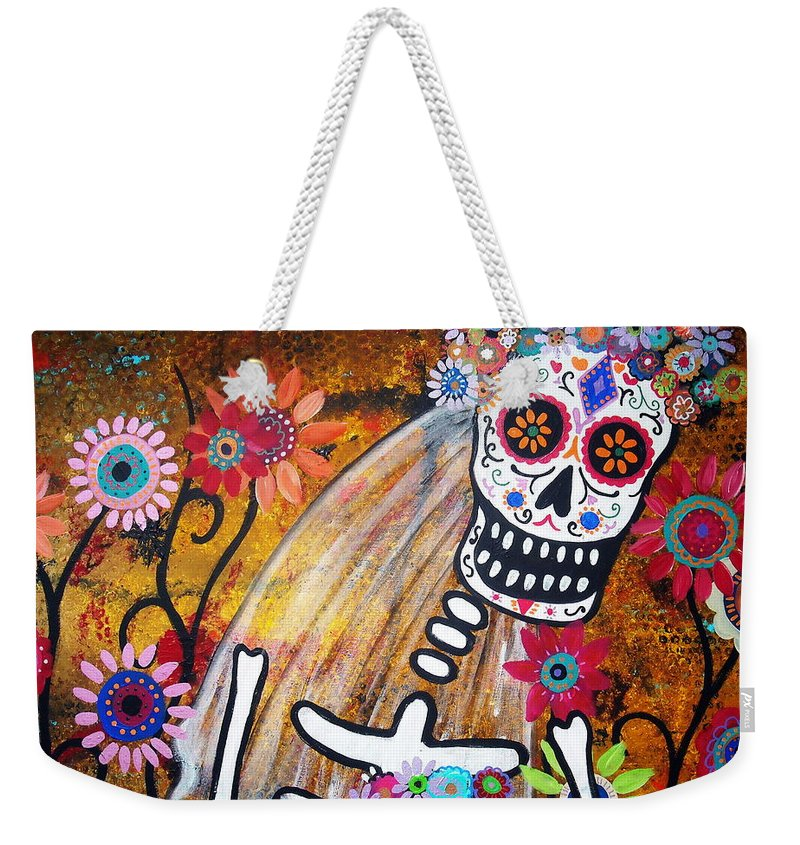 Dia Weekender Tote Bag featuring the painting Desposada by Pristine Cartera Turkus