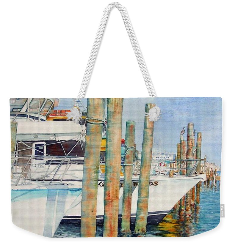 Sailboats Weekender Tote Bag featuring the painting Destination Destin Nr. One by Annika Farmer