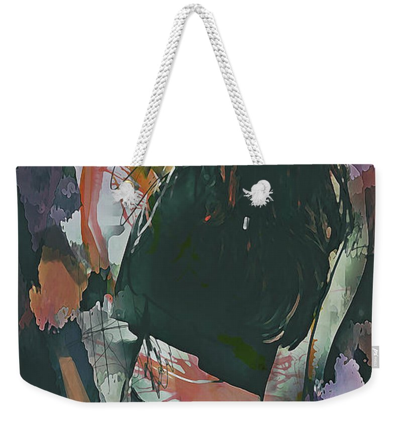 Abstract Weekender Tote Bag featuring the digital art Destinations Abstract Portrait by Galen Valle