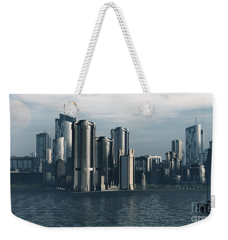 Futurism Weekender Tote Bag featuring the digital art Destiny by Richard Rizzo