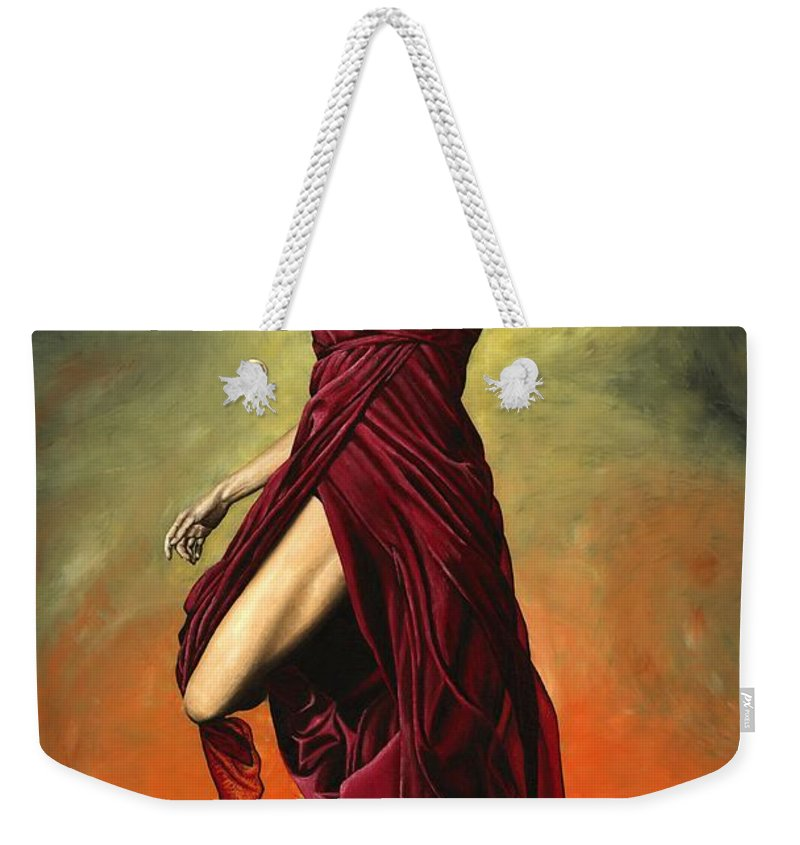 Dance Weekender Tote Bag featuring the painting Destiny's Dance by Richard Young