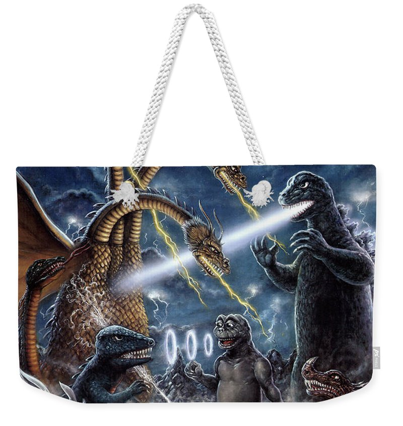Art & Collectibles Weekender Tote Bag featuring the painting Destroy All Monsters Godzilla Kaiju Battle Monster Island by Scott Jackson