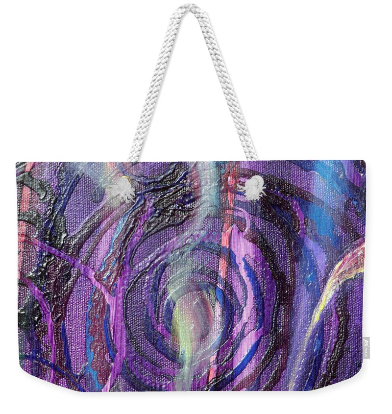 Psychedelic Weekender Tote Bag featuring the painting Detail From Annuciation by Anne Cameron Cutri