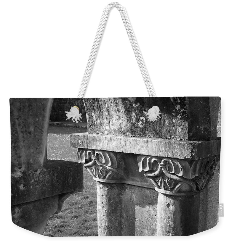 Irish Weekender Tote Bag featuring the photograph Detail Of Cloister At Cong Abbey Cong Ireland by Teresa Mucha