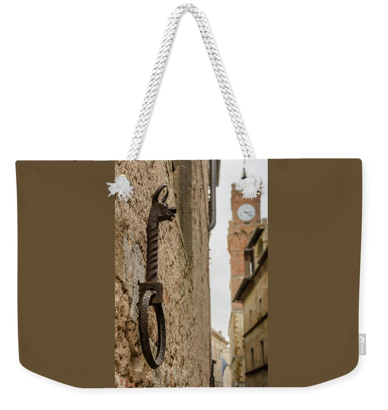 Photography Weekender Tote Bag featuring the photograph Detail Of Iron On A Wall Of Pienza, Tuscany, Italy by Sanchez PhotoArt