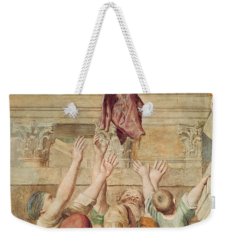 Religion Weekender Tote Bag featuring the painting Detail Of Saint Cecilia Distributing Alms by Domenichino