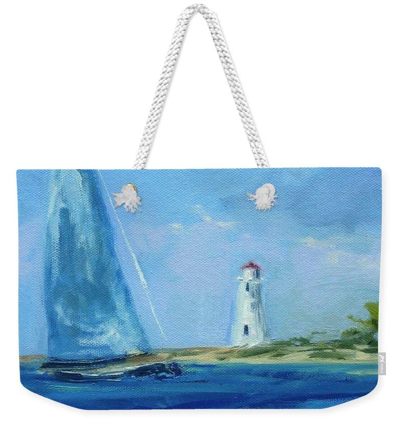 Lisa Ridabock Weekender Tote Bag featuring the painting Sailing By The Light by Lisa H Ridabock