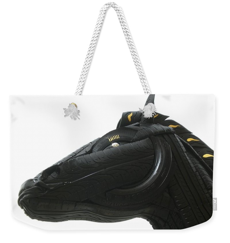 Horse Weekender Tote Bag featuring the sculpture Detail - Tire Horse by Mo Siakkou-Flodin