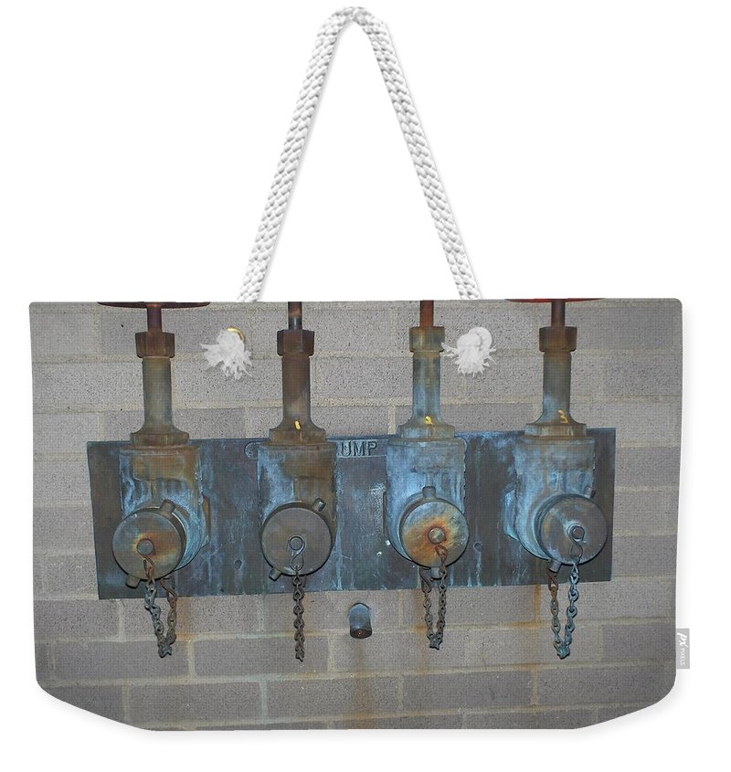 Photograph Weekender Tote Bag featuring the photograph Detailed Four Pipes by Thomas Valentine