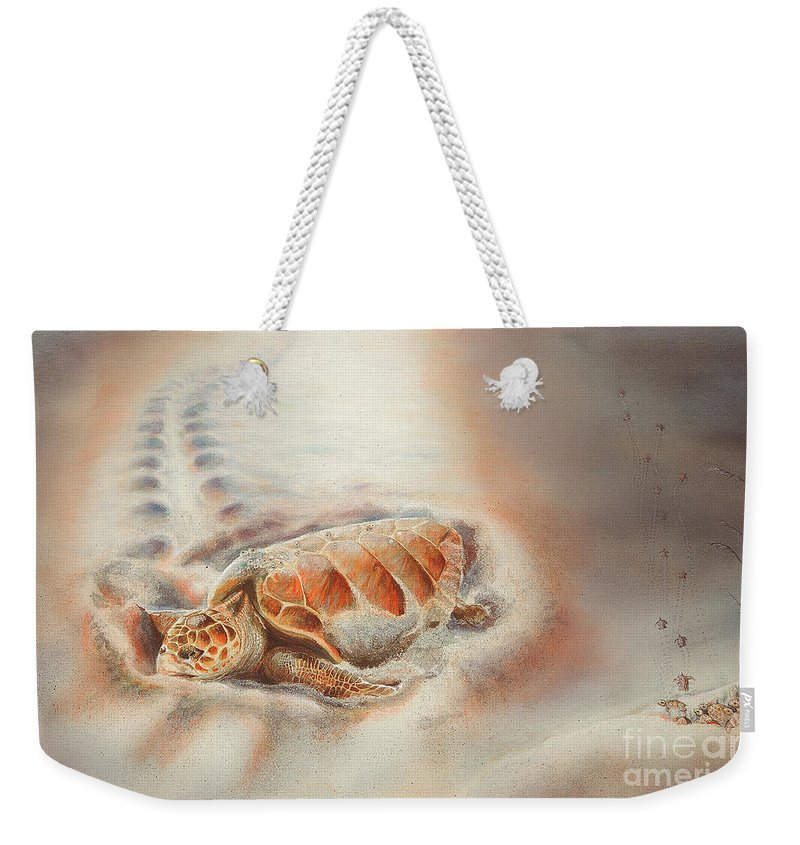 Loggerhead Weekender Tote Bag featuring the painting Mother's Heart by Lynne Barletta