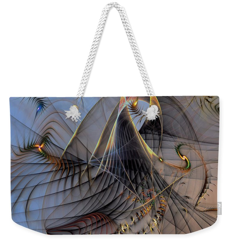 Abstract Weekender Tote Bag featuring the digital art Deterministic Chaos by Casey Kotas