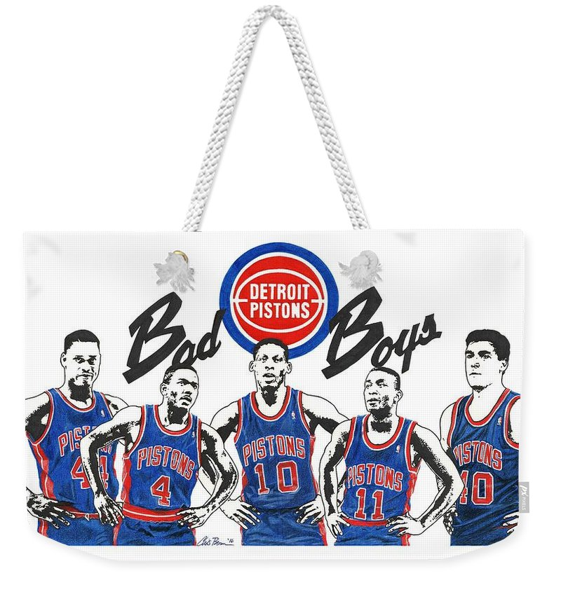 Isiah Weekender Tote Bag featuring the mixed media Detroit Bad Boys Pistons by Chris Brown