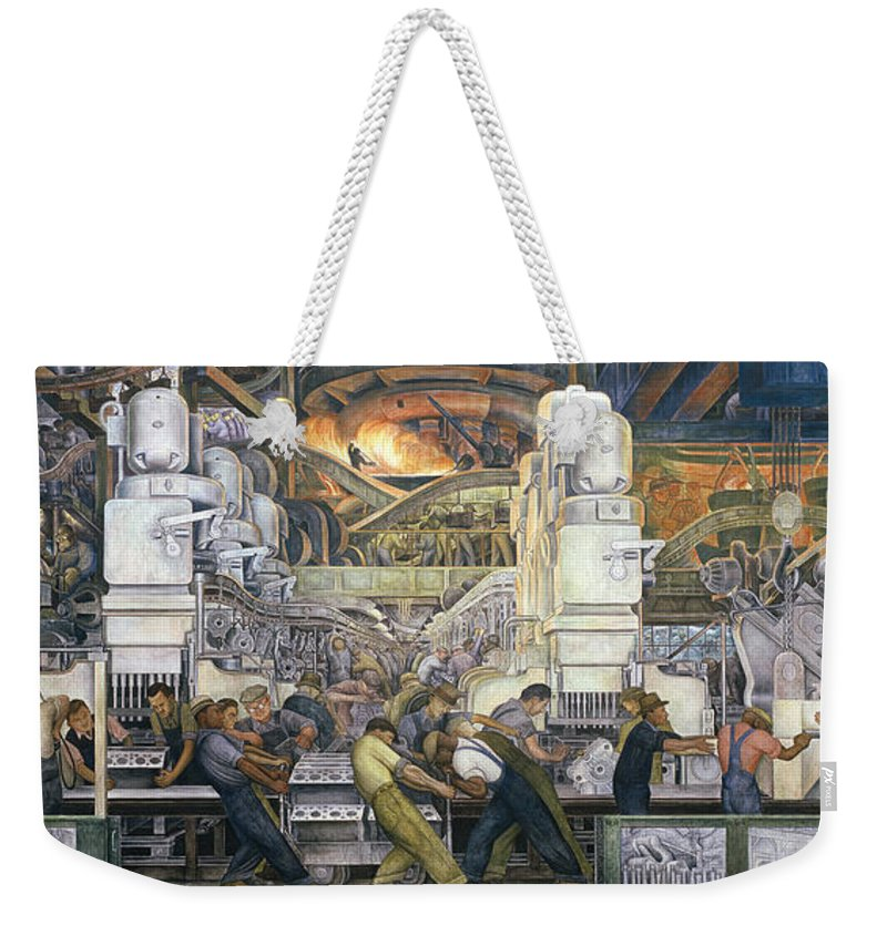 Machinery; Factory; Production Line; Labour; Worker; Male; Industrial Age; Technology; Automobile; Interior; Manufacturing; Work; Detroit Industry Weekender Tote Bag featuring the painting Detroit Industry  North Wall by Diego Rivera