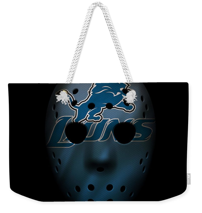 Lions Weekender Tote Bag featuring the photograph Detroit Lions War Mask 2 by Joe Hamilton