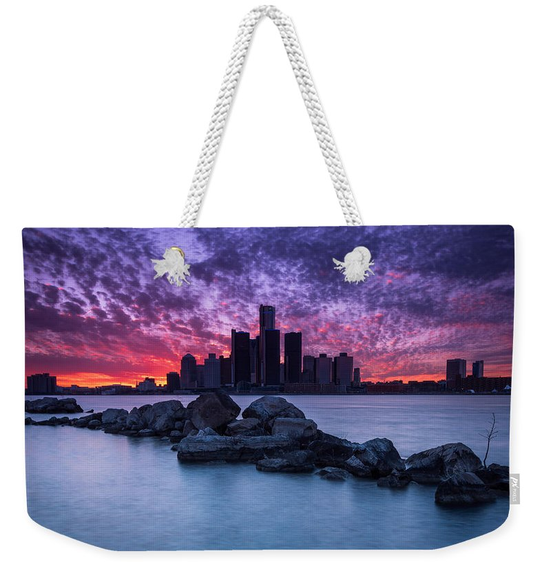 Detroit Weekender Tote Bag featuring the photograph Detroit Skyline Clouds by Cale Best