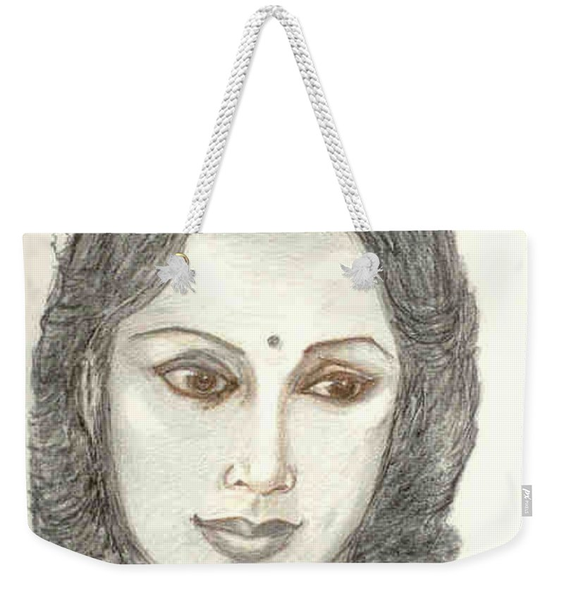 Weekender Tote Bag featuring the drawing Devika Rani - Svetoslav Roerich by Asha Sudhaker Shenoy