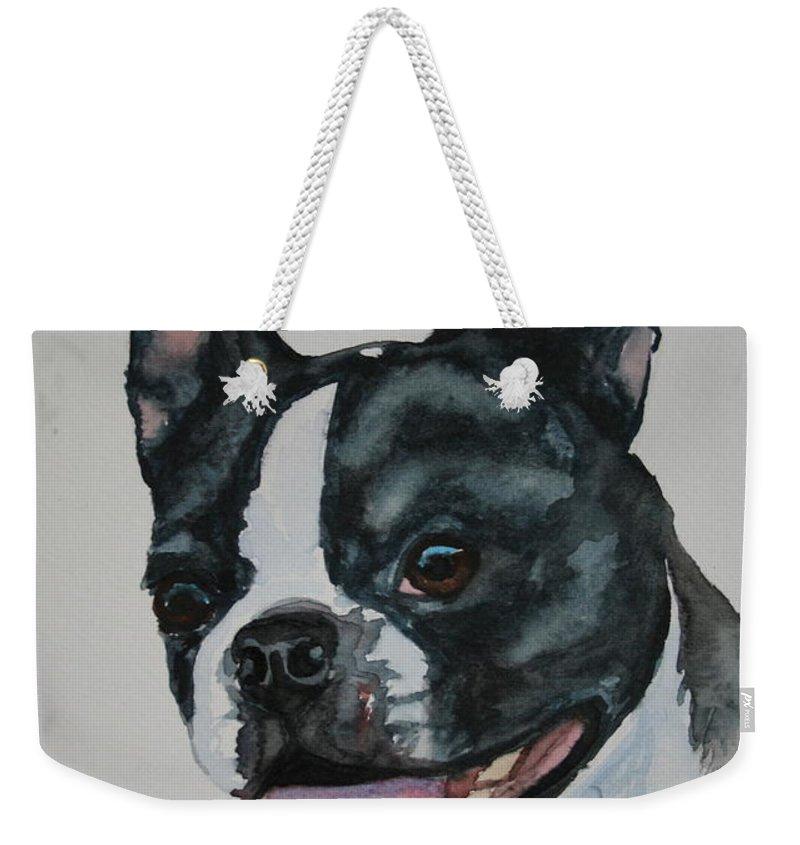 Boston Terrier Weekender Tote Bag featuring the painting Devil Ears by Susan Herber