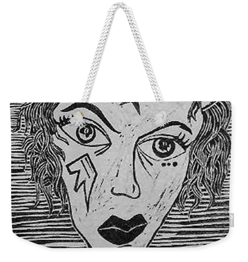 Prints Weekender Tote Bag featuring the print Devil Print Two Out Of Five by Thomas Valentine