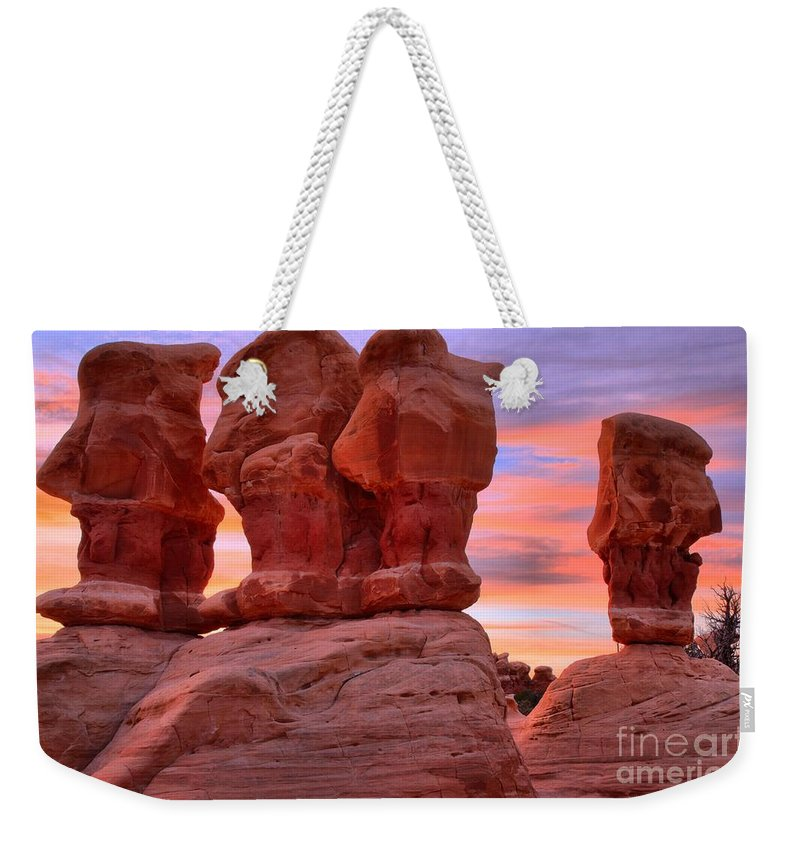 Devils Garden Weekender Tote Bag featuring the photograph Devils Garden Pink Sunset by Adam Jewell