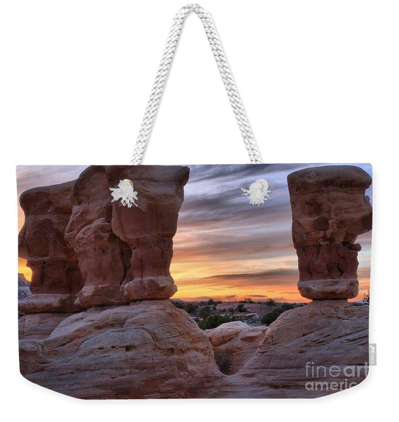 Devils Garden Weekender Tote Bag featuring the photograph Devils Garden Sunset by Adam Jewell
